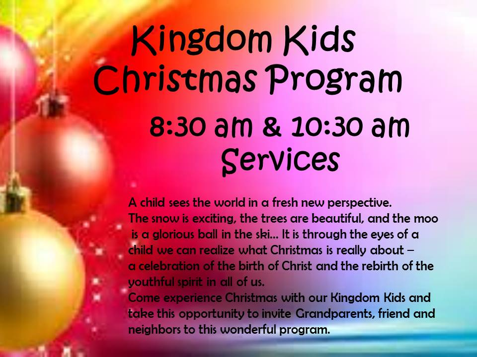 Kingdom Kids Christmas Program – Northwoods Vineyard Church